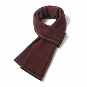 WXYPP Echarpes Laine Hommes Cou Tricot Foulards Simple Écharpe à Rayures Mode Tendance Loisirs Foulard (Color : Red, Size : Free Size)